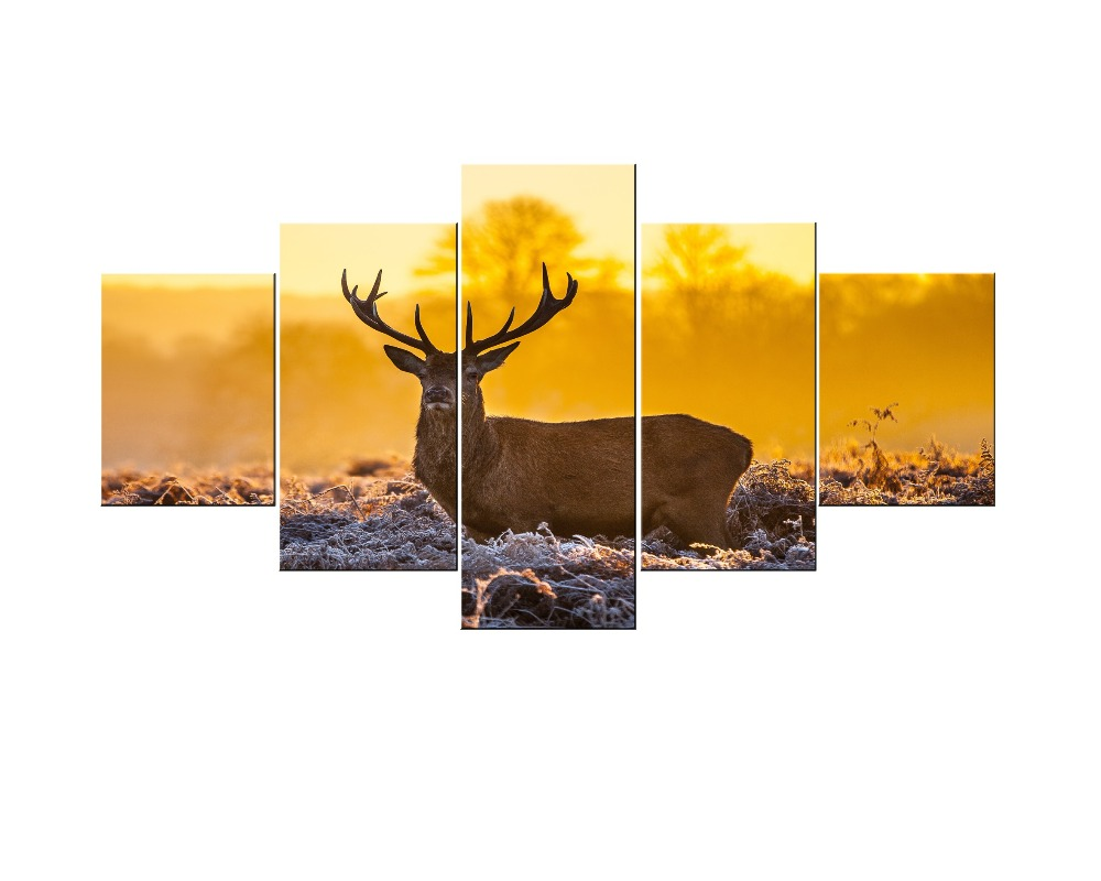 Oversize 5 Pieces Canvas Wall Art Autumn Deer Wall Pictures for ...