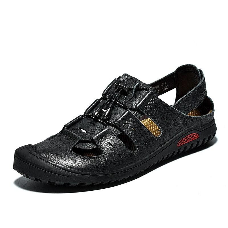 Trou chaussures homme sandales cuir véritable Crocse sabots hommes chaussures Sandalias Hombre Sandles Sandalet été Croc Sandali nouveau 2019