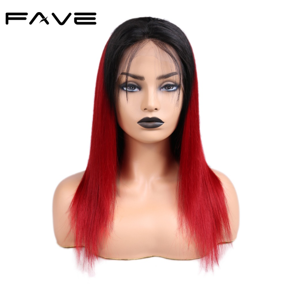 FAVE Hair 13*4 Lace Closure Ombre Wigs Brazilian Remy Straight Hair Wig With Baby Hair Pre Plucked Natural Hairline 1B/Red Color