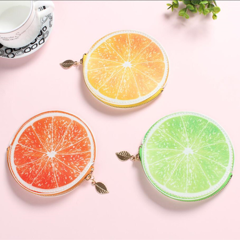 New Design Fruit Coin Purse Creative Women Orange Lemon Wallets Children Gifts Mini Bags Female Coin Storage Zipper Wallets Bag fashion coin purse wallets mini bag league creative personality canvas bags cartoon storage bags for cardholder in ear headphone