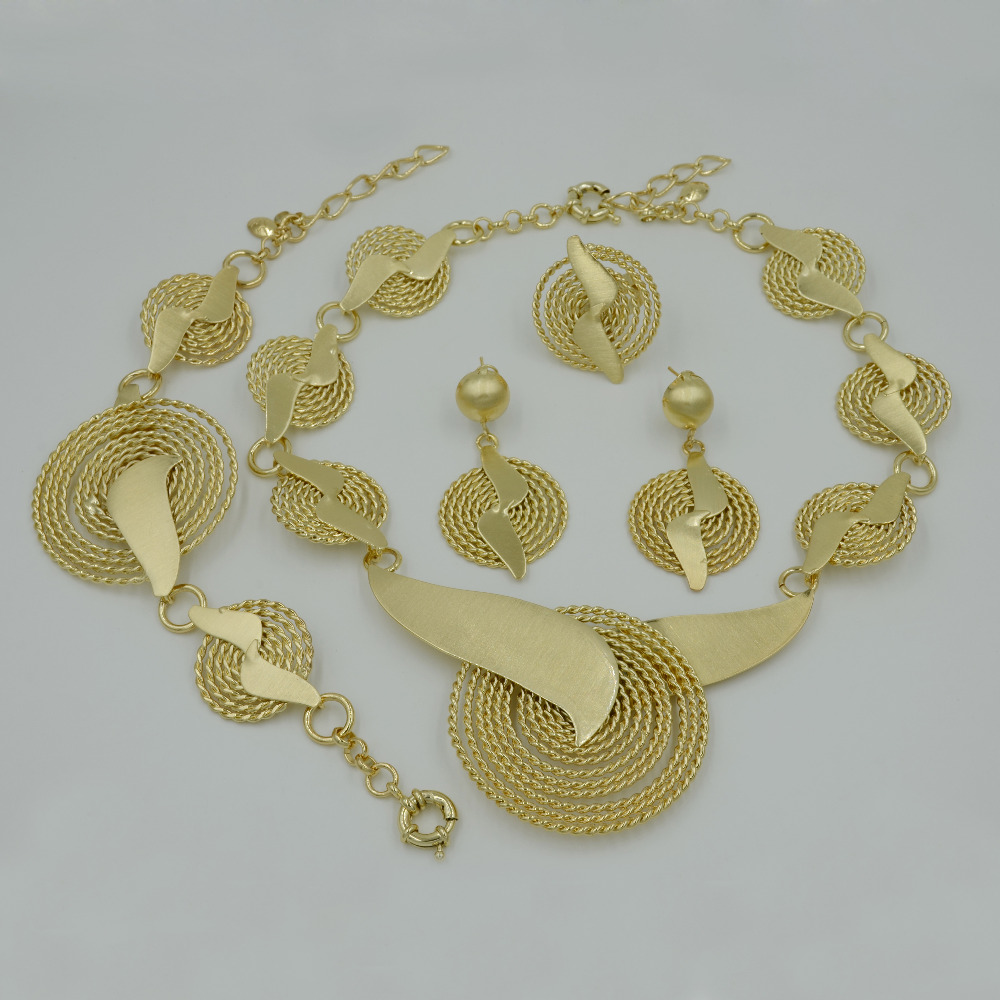2017 New Handmade Dubai Gold Jewelry Sets Fashion Big Nigerian