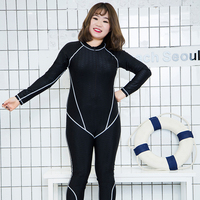 New Large Size Swimwear Women One Piece Swimsuits Solid Black Blue Long Sleeve Long Pants Zipper Sharkskin Swimwear Quick Dry