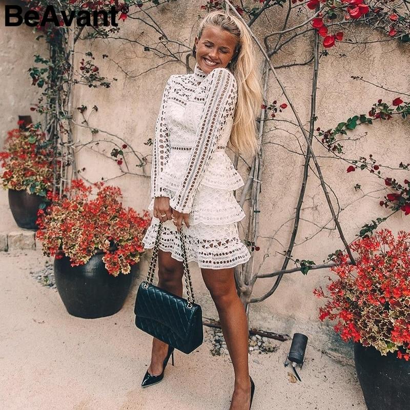 BeAvant Elegant white lace hollow out dress women Vintage long sleeve ruffle vestidos 2017 Autumn winter women party club dress