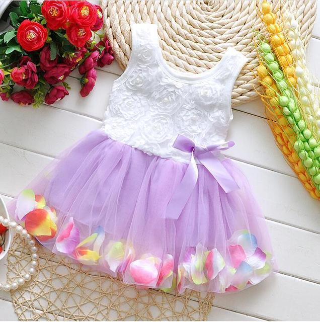 2015 Summer Cotton Baby Aestheticism Fairy Tale Petals Colorful Dress Chiffon Princess Newborn Baby Dresses For Free shipping