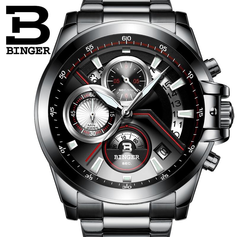 Chronogra 2016 New Luxury Watch Brand BINGER Quartz Watch Men Steel Fashion Clock Male Waterproof Watches