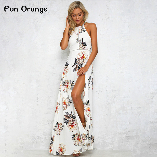 38d31919c2 Fun Orange Floral Print Halter Chiffon Long Dress Women White Split Beach Summer  Dress Sexy Backless Maxi Dresses Vestidos