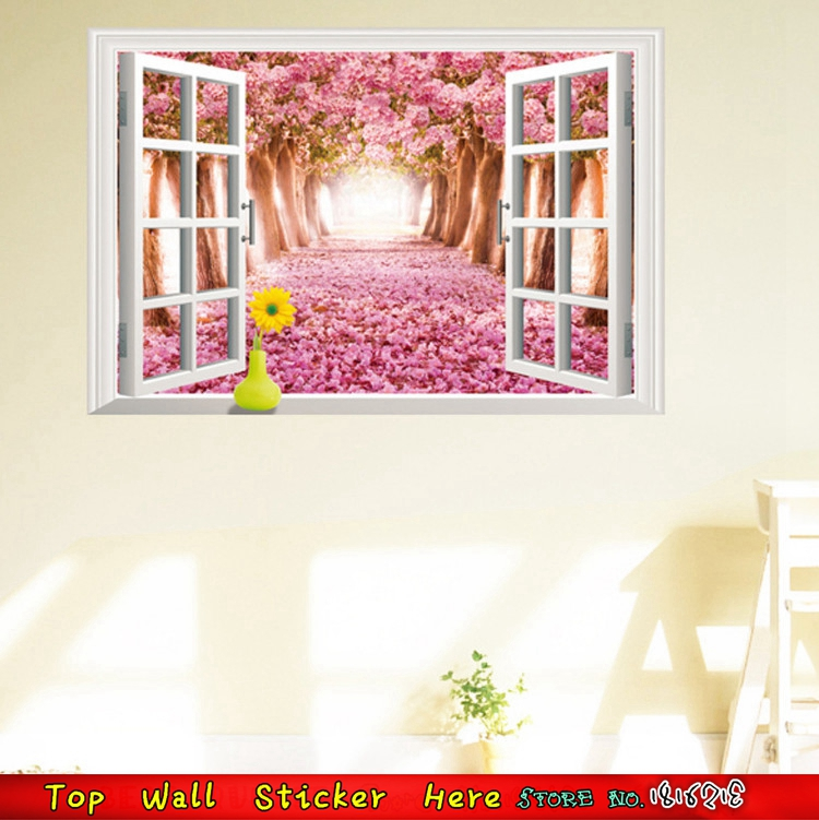 Home Living Room Sofa Background Wall Sticker 3D Window View Pink ...