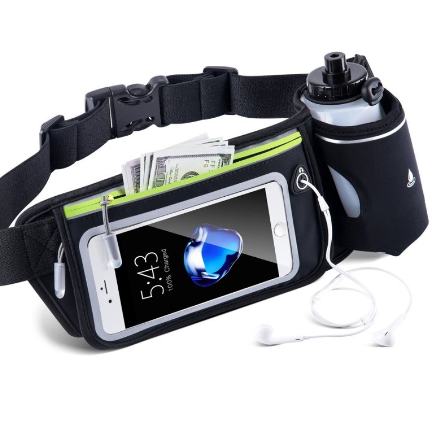 Outdoor Running Waist Bag Pack Jogging Cycling Waterproof Mobile Phone Holder Purse Belly Gym Bags Men Women With Water Bottle