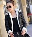 Mulheres jaqueta de Couro outono Inverno Engrosse Com Capuz Quente Casaco de Couro Mulheres Casaco de couro Jaqueta de Couro Feminina de Alta Qualidade Z929