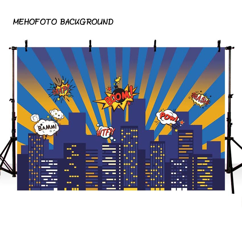 MEHOFOTO Superhero City Theme Photography Backdrop Children Birthday Party Backdrop for Photo Studio Background Custom G-157