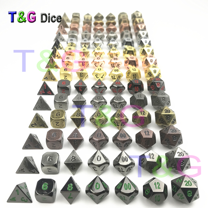 TOP Quality NEW Metal 7 Dice set d4 d6 d8 d10 d% d12 d20 for Board Game Rpg Dados juegos de mesa dungeons & dragon dice