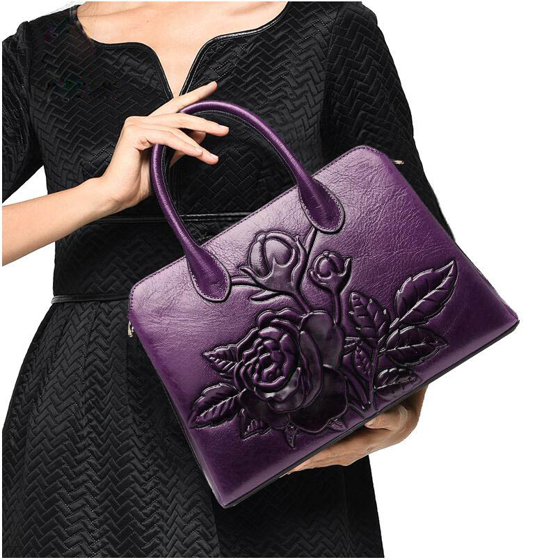 2019 Time-limited Polyester Silt Pocket Suwerer New Superior Cowhide Genuine Leather Tote Women Handbags Rose Flower Luxury Bag