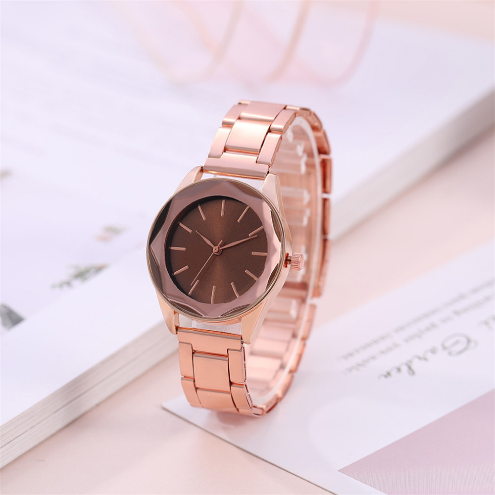 Hot Sale Fashion Stainless Steel Rose Gold & Silver Band Quartz Watch Luxury Women Prismatic Border Dial Watches Clock Gift #A