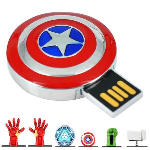 Avengers 7 Styles Captain America Iron Man USB 2.0 Flash Drives Pendrive Flash Card Memory Stick Pen Drive 64GB 128GB 512GB Gift