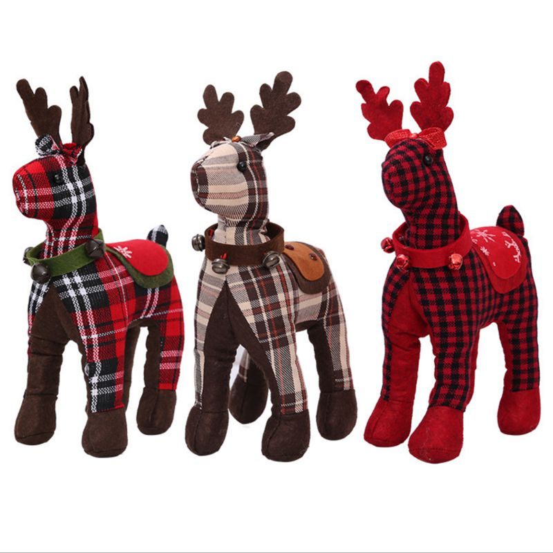 christmas Elk Lattice Doll 30*18cm Window decorations for home Gift natal Ornaments kers ...