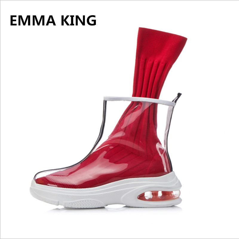 New Knitting Sock Boots Woman 2018 Clear PVC Thick Bottom Platform Stretch Ankle Boots Round Toe Creepers Flats Shoes WomenNew Knitting Sock Boots Woman 2018 Clear PVC Thick Bottom Platform Stretch Ankle Boots Round Toe Creepers Flats Shoes Women