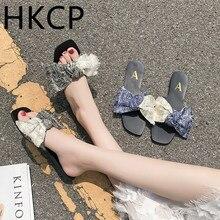 HKCP Fashion 2019 womens flat sandals new slipper multi-coloured tassel fabric student Bohemian C125