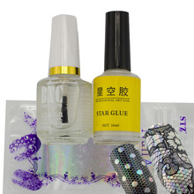 1 Sets 16 Designs Lace White Lace Nail Foils+ Nail Star Glue+Bright Oil Nail Art Decoratiosn Setes DIY Glue Adhesive Tools CH330