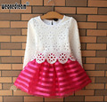 Hot Sale!2017 Summer Girl Dress Children Girls's Clothing Set Spring Long Sleeve Party Striped White Pink Princess Dress