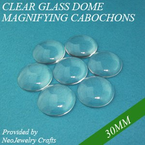 4 Clear Glass Cabochon Square Dome Bead Crystal Magnify 25mm