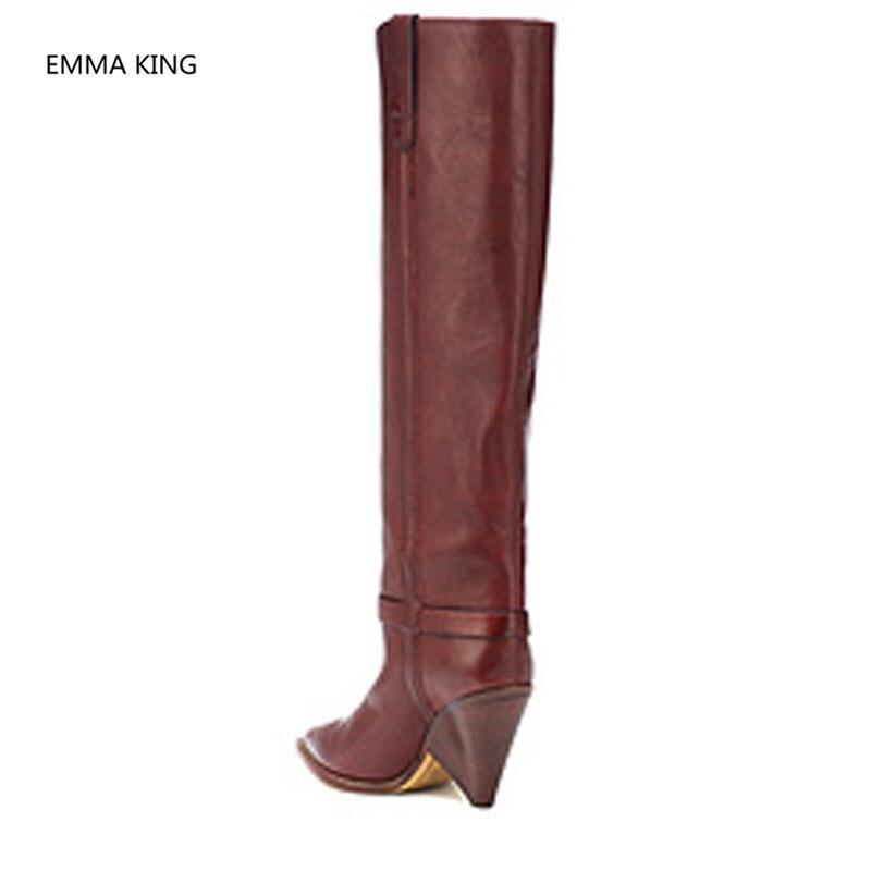 Slip Partie Cuir De Vintage Chaussures Longue Piste Haute Rouge Chevalier Genou Shown Talons Sur In Femmes Femme Picture Spike En Talon Automne Bottes Hiver As tw6IaI