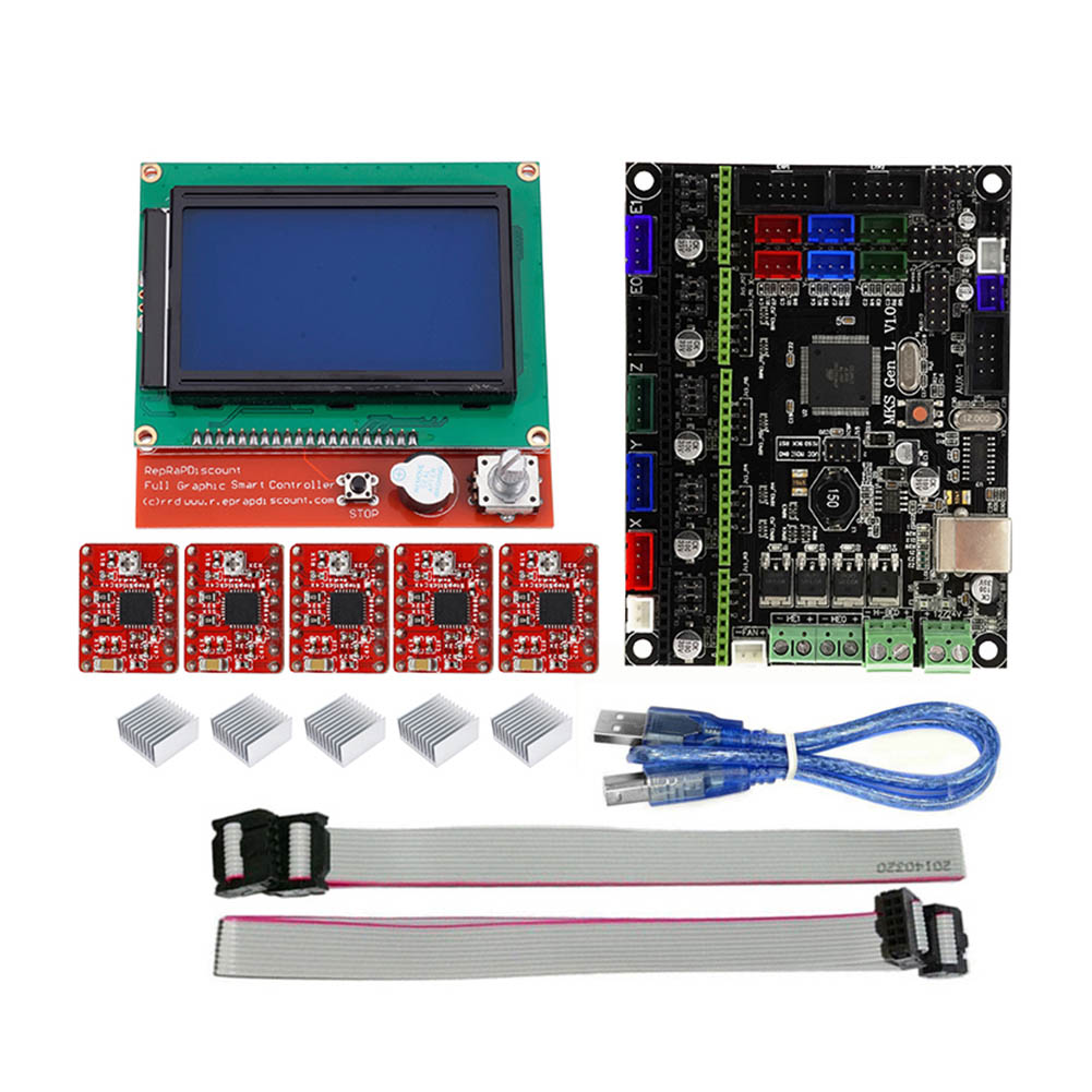 MKS GEN L 12864 LCD Minipanel Touching Display 3D Print Kits with A4988 Driver SL@88