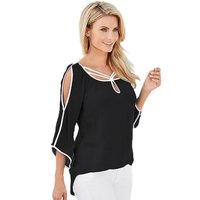 New Women S Loose Three Quarter Sleeve Chiffon Casual Blouse Shirt Tops Fashion Blouse Latest