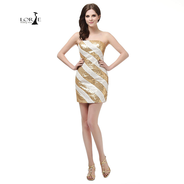 LORIE White and Gold Prom Dresses Sequin Actual Images Short Cheap ...