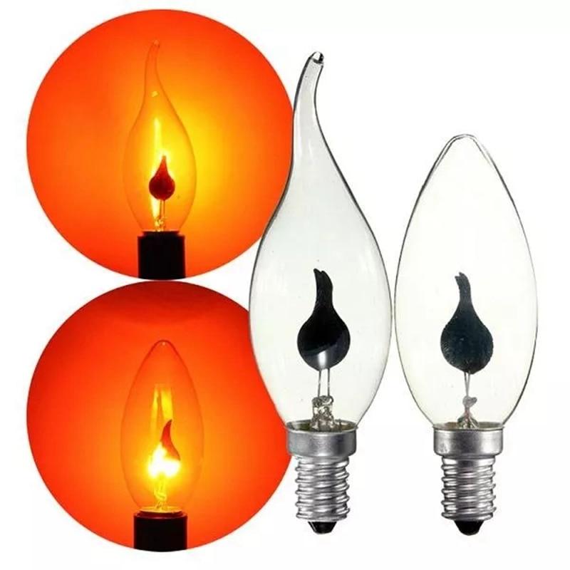 Incandescent Vintage Bulb E14 3W Retro Chandelier Fire Candle Light Flame Edison Bulb LamEdison Candle Flame Bubble Bulb Lights