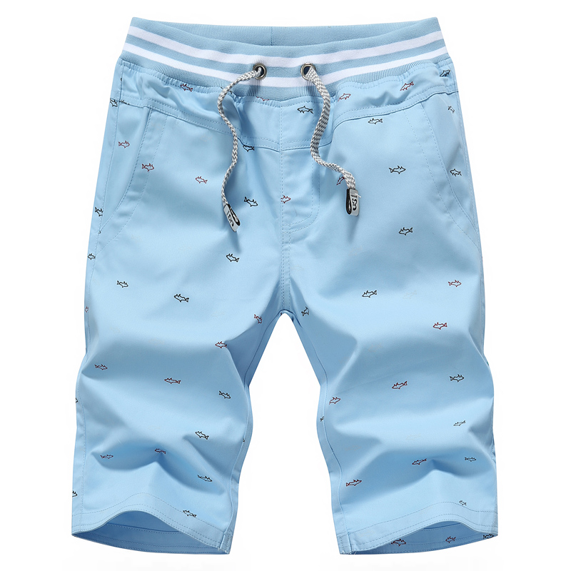 Summer mens shorts, fashion print casual shorts mens , mens khaki shorts ,Sky blue, dark blue