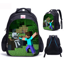 Minecraft Backpack Schoolbag Cartoon Children Backpack Cute Primary Student School Bags For Boys Girls Kindergarten Kids Bags(China)