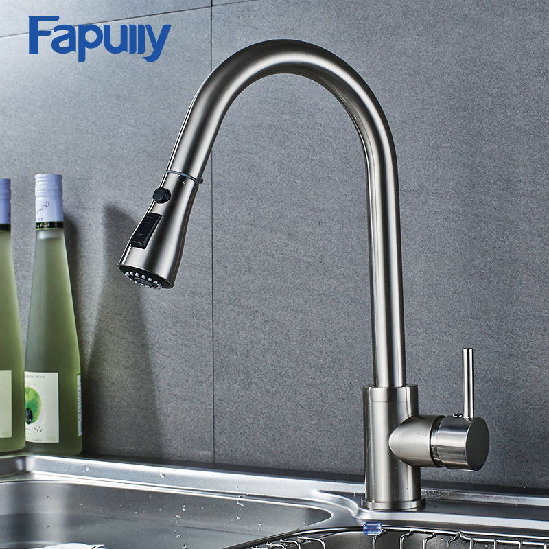 Fapully Brushed Nickel  Kitchen Sink Faucet Pull Out Staintell Steel Mixer Tap
