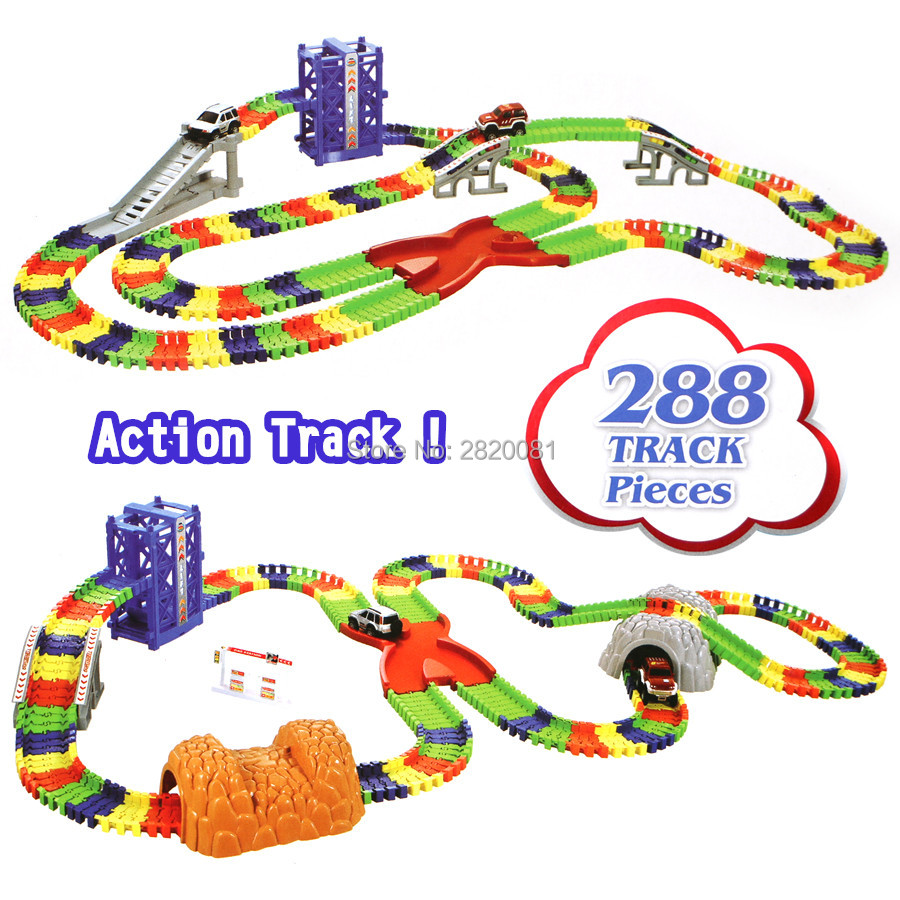 Track car over 288pcs tracks Deluxe set create a road flexible tracks Roller Coaster bridge tunnel model toys,DIY puzzle toys элтон джон elton john goodbye yellow brick road deluxe edition 2 cd