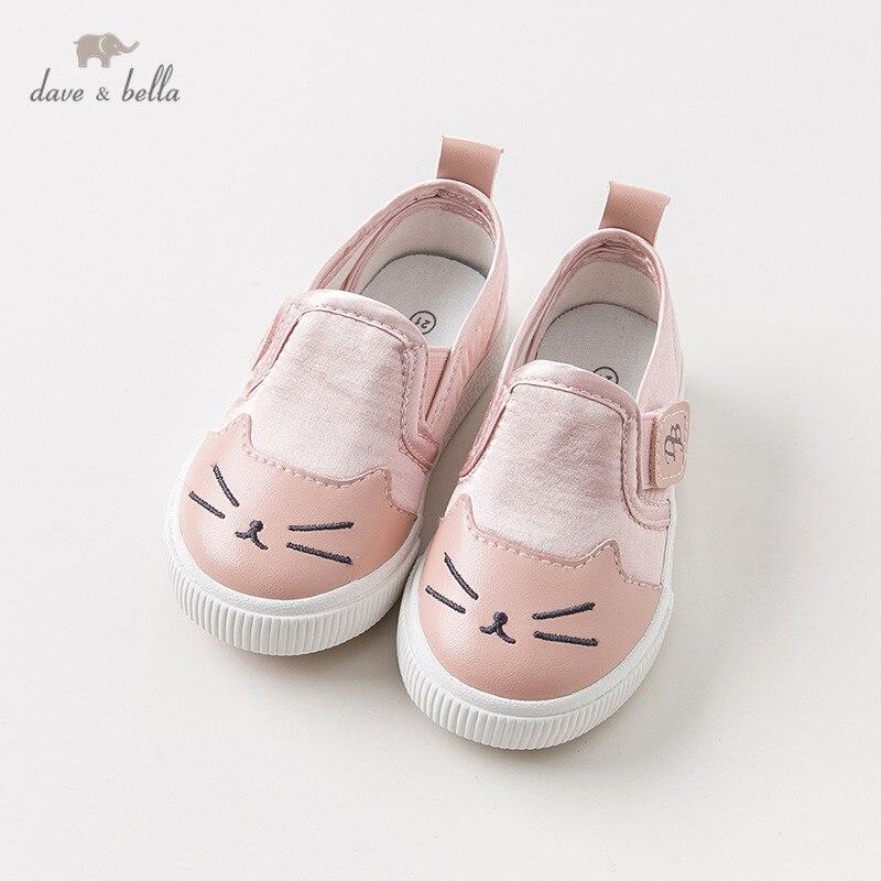 Где купить DB10967 Dave Bella весенне-Осенняя детская парусиновая обувь для девочек повседневная обувь для новорожденных девочек Розовая обувь