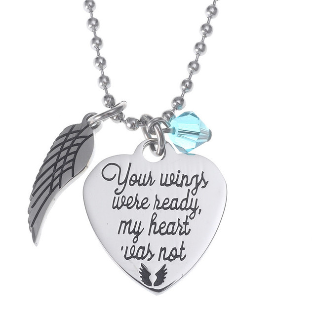 Angle Wing Necklace Disc Engraved Inspired Quotes Your Wings Were
