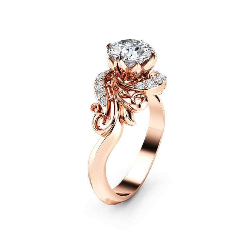 ... Mossovy Fashion Female Zircon Rhinestone Flower Rose Gold Ring Jewelry  Zirconia Wedding Rings for Women Oorbellen ... 781c1a849933