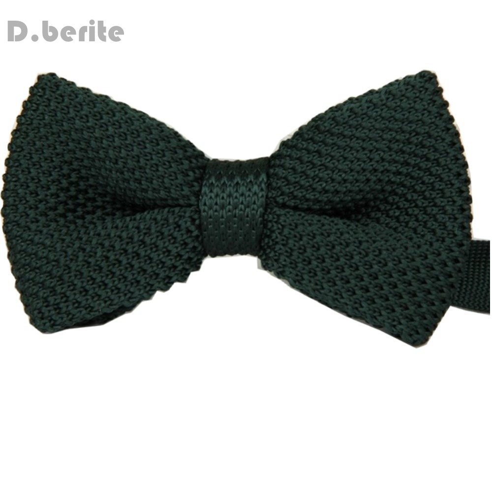 Men's Dark Green Double Layer Classical Bowtie Knit Knitted Pre Tied Bow Tie Groom Wedding Party ZZBW005