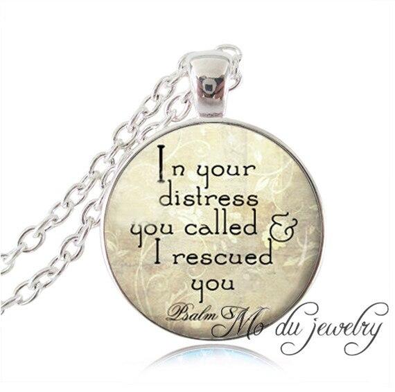 Christian jewelry Scripture pendant Faith Bible Verse Necklace Psalm 81:7 Spiritual quote black inspirational Jesus jewerly