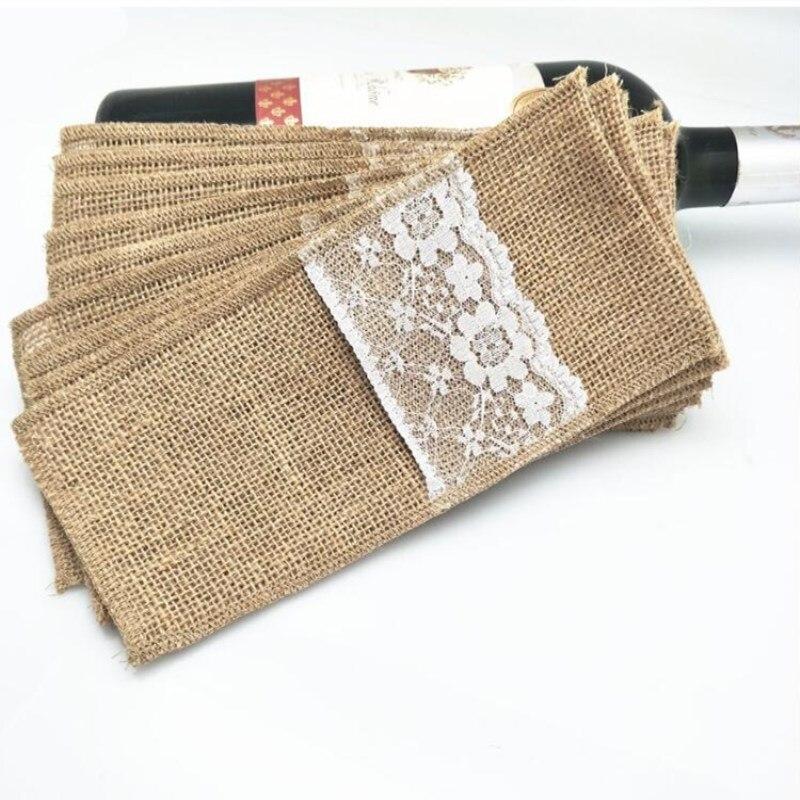10 шт., держатели столовых приборов из натурального джута, вилка и нож для упаковки для свадьбы, вечерние украшения, 4x8 дюймов, AA7897