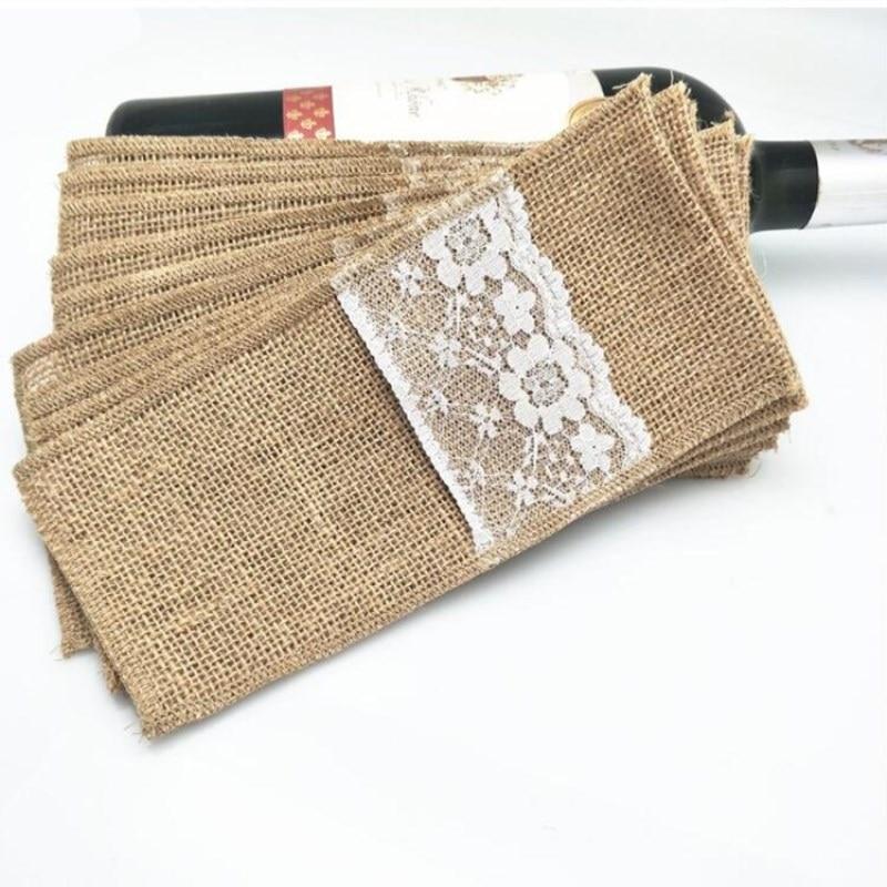 Couverts en Jute naturelle 10 pièces | Emballage fourchette et couteau pour mariage, décoration de fête, 4x8 pouces, AA7897