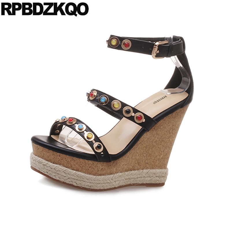 6721f77dfc3 Cork Crystal Espadrilles Female Rope Fetish Extreme Women Jewel Black Pumps  Platform Wedge Sandals Summer Ankle Strap Shoes
