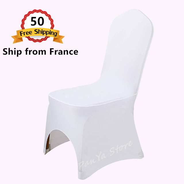 Ship from France Wholesale 50PCS Polyester Spandex Lycra Decor Chair Cover for Wedding Banquet Party Hotel