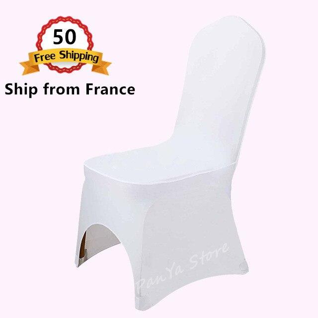 Schip uit Frankrijk Groothandel 50PCS Polyester Spandex Lycra Decor Stoel Cover voor Wedding Banquet Party Hotel Vakantie Viering-in Stoelhoes van Huis & Tuin op  Groep 1
