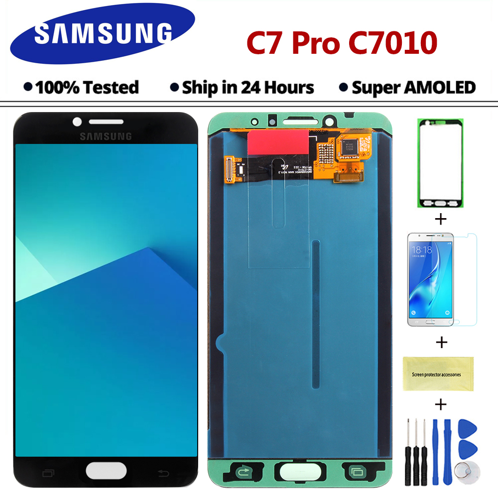 5 7'' Super AMOLED C7 Pro LCD For Samsung Galaxy C7 Pro C7010 LCD Display  Touch Screen Digitizer Assembly Replacement (HOT DISCOUNT July 2019)