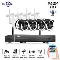 Hiseeu 4CH 960 Беспроводной CCTV Камера Системы аудио 1.3MP IP Камера Открытый безопасности дома Системы комплект видеонаблюдения
