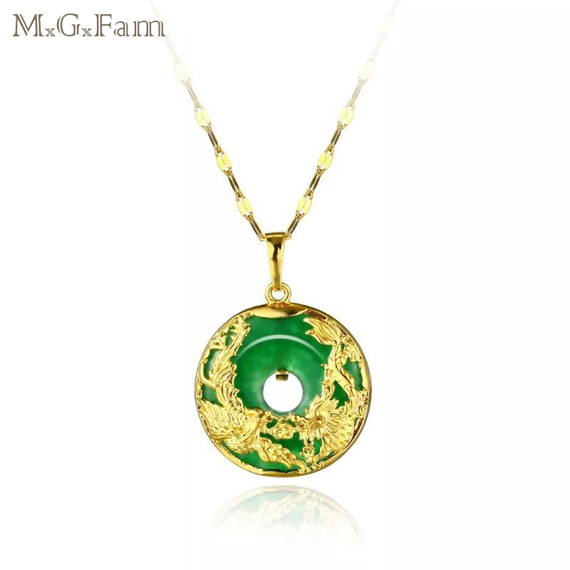 M.G.Fam Dragon And Phoenix Pendant Necklace For Women Green Rhinestone China Ancient Mascot Pure Gold Color With 45cm Chain