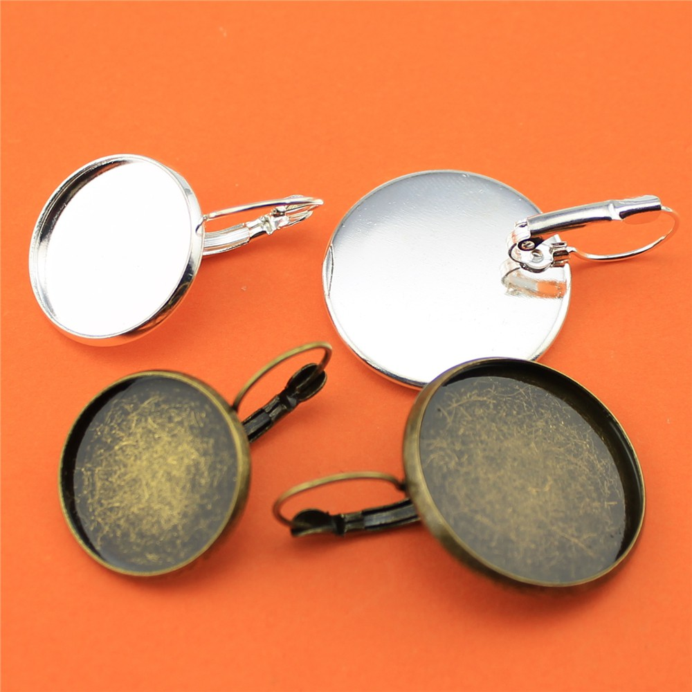 10pcs Round Size Copper Material French Lever Back font b Earrings b font Blank Base Bezels