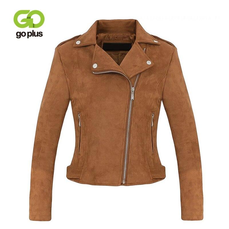 GOPLUS Faux Leather Suede Jacket Women Sexy Zipper Motorcycle Lady 2019 Fashion Winter Slim Outerwear Female