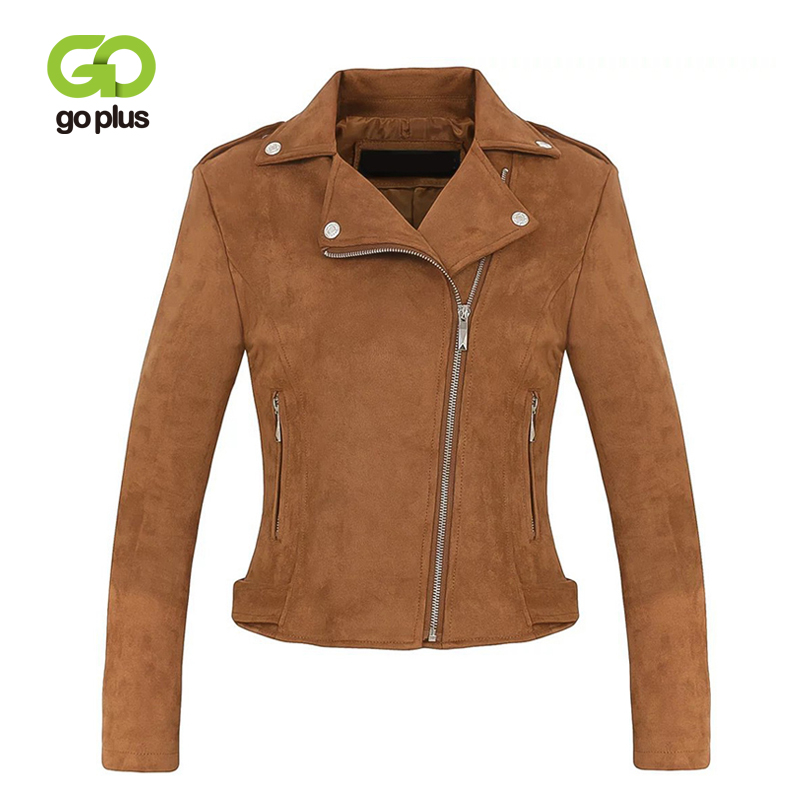 GOPLUS Faux   Leather     Suede   Jacket Women Sexy Zipper Motorcycle   Suede   Jacket Lady 2019 Fashion Winter Slim Outerwear Jacket Female
