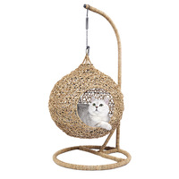 Cat Luxury vine bed house cat hammock with cushion kitten house pet accessories pet hanging bed frame cat home goods basket